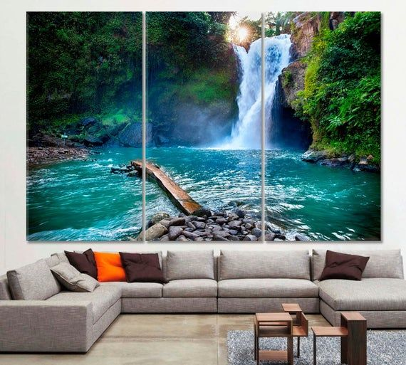 Waterfall Wall Art Jungle Canvas Print Waterfall Art Print Etsy Waterfall Wall Art Waterfall Wall Landscape Wall Art