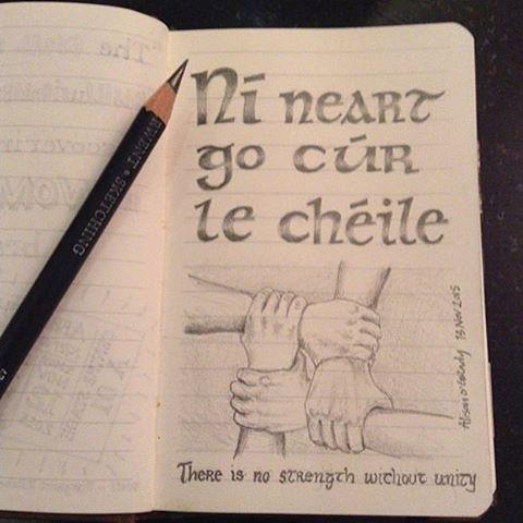 Pic álainn le @alisonogradybyrne ❤️ #gaeilge #níneartgocurlechéile #paris #together #strength #seanfhocal #sketch
