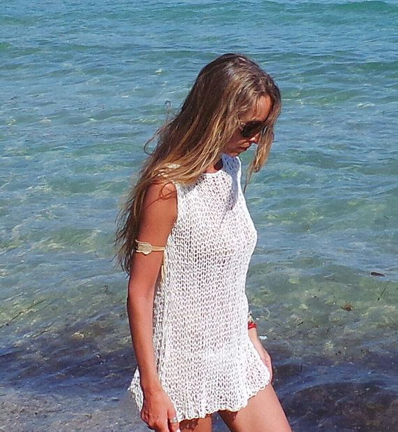 White beach dress cover up /   cotton mix summer dress by ileaiye, $115.00