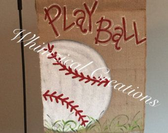 Items similar to Burlap Baseball Garden Flag, Outdoor Garden Flag, Baseball Yard Flag, Summer Burlap Yard Flag on Etsy