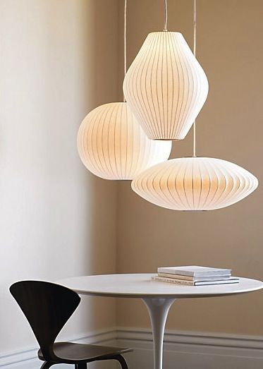 Suspensions Cocoon Ball, Pear et Discus - inspiration mid-century Bubble George Nelson
