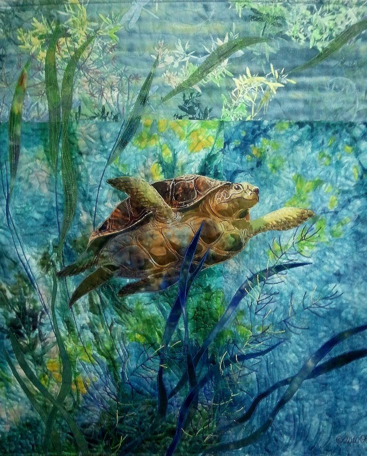 """Sea Turtle, 22""""x29"""", hand dyed and print cotton, silk/applique, embroidery, quilting. Olena Nebuchadnezzar 