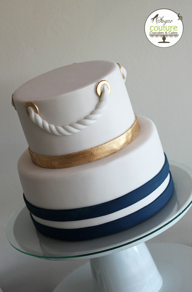 Nautical Wedding Cake Navy Blue Gold And White