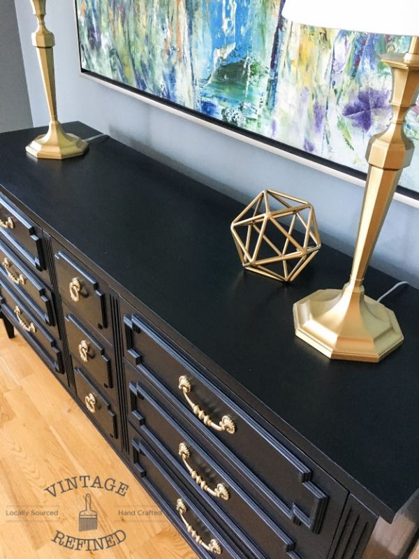 Chic Black Painted Dresser with gold hardware— Vintage Refined