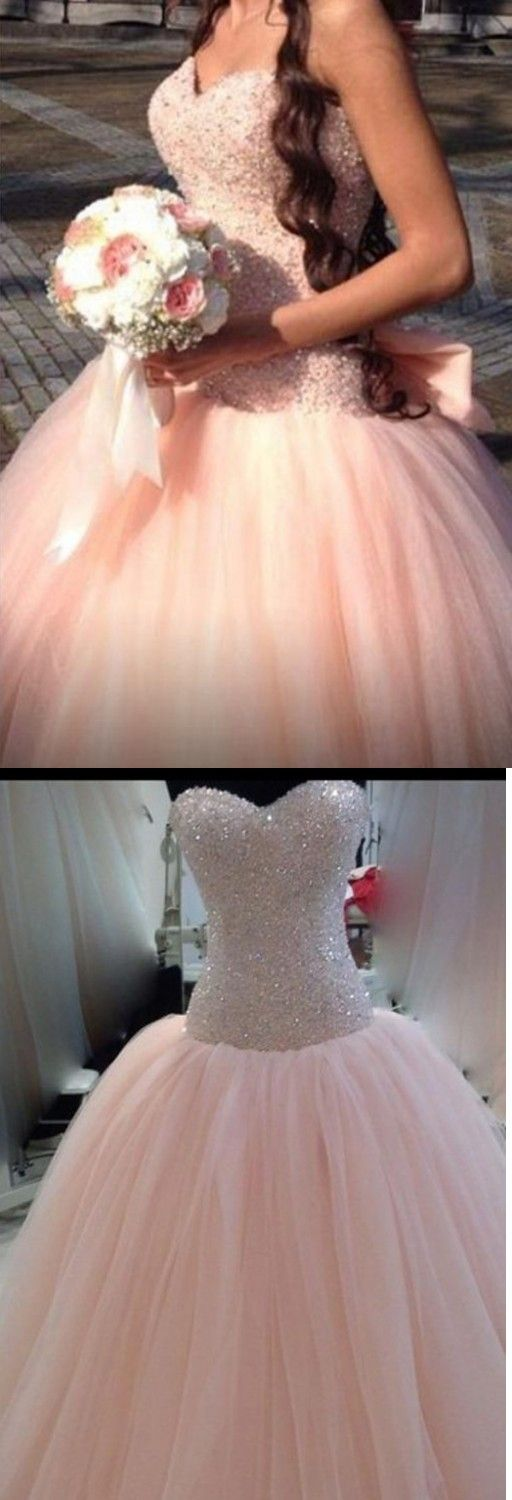 Ball Gown Sweetheart Sleeveless Floor Length Pink Prom Dress with Beading Sequins Bowknot