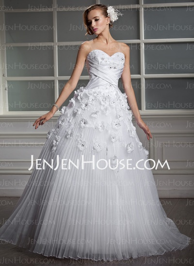 Wedding Dresses - $186.99 - Ball-Gown Sweetheart Floor-Length Organza Satin Wedding Dress With Lace Beadwork Flower(s) (002006700) http://jenjenhouse.com/Ball-Gown-Sweetheart-Floor-Length-Organza-Satin-Wedding-Dress-With-Lace-Beadwork-Flower-S-002006700-g6700