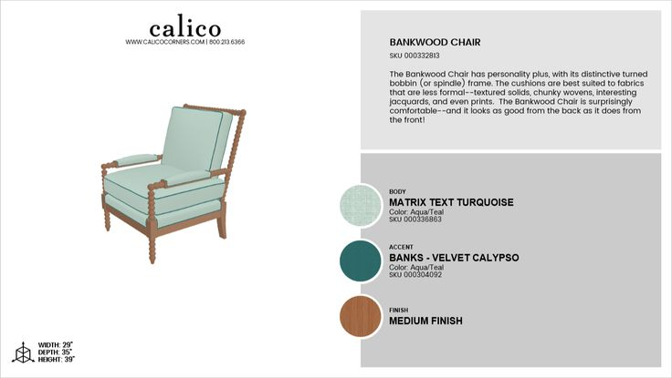 Bankwood Chair in Matrix Text Turquoise with an accent of Banks - Velvet Calypso in Medium Finish