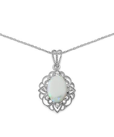 Look what I found on #zulily! Opal & White Topaz Oval Pendant Necklace #zulilyfinds