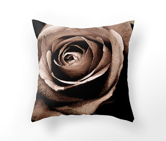 Chocolate rose photography on pillow DECORATIVE by UniqueArtHome, $35.00