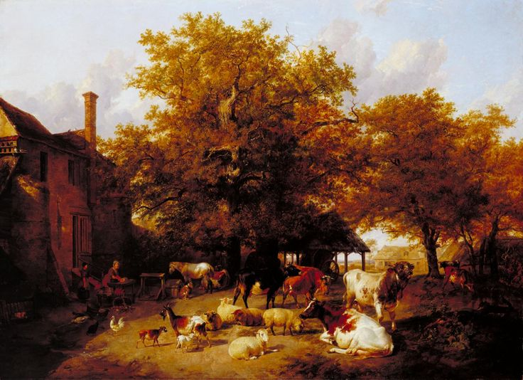 Thomas Sidney Cooper 'Milking Time - Study of a Farm-Yard near Canterbury', 1833–4, exhibited 1834
