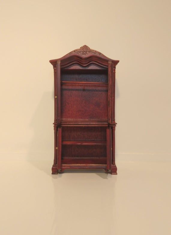 Mahogany Two Door Wardrobe Dolls House Miniature Bedroom Furniture 1:12th Scale