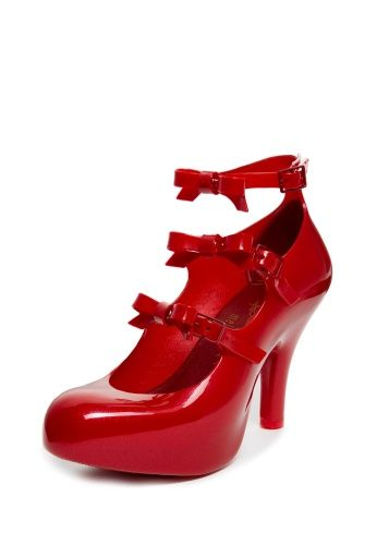 These Vivienne Westwood Anglomania Melissa red elevated three-strap heels with bows are sure to turn heads.