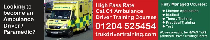 High pass rate, fully managed Cat C1 Ambulance / Paramedic Driver Training Courses. We are proud to be both the North West and Yorkshire Ambulance Services preffered training provider. Get your licence FAST at TRUK. Call 01204 5254545 or visit http://www.trukdrivertraining.com/ambulance-paramedic-driving-courses