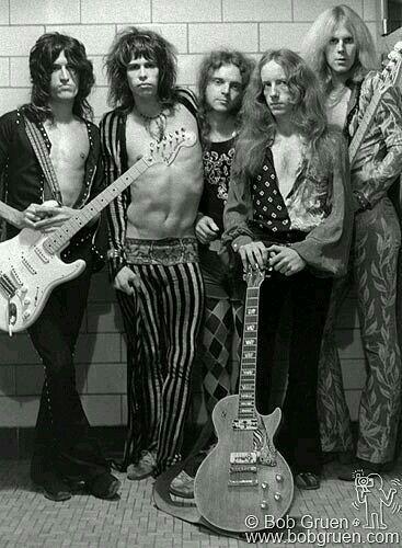 Aerosmith (Joe Perry, Steven Tyler, Joey Kramer, Brad Whitford and Tom Hamilton) Boston, Massachusetts  September 1973.