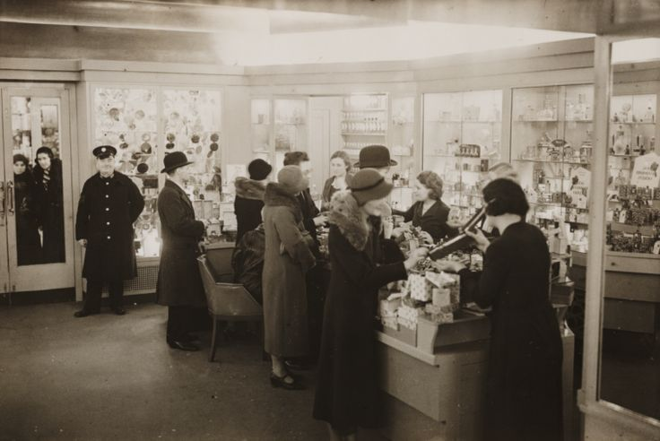 The interior of Boots chemist in Regent Street, London, taken in December 1932 by George Woodbine