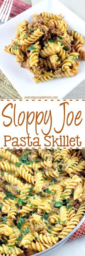 This Sloppy Joe Pasta Skillet is savory, comforting, and oh so tasty! Homemade sloppy joe sauce mixed with pasta, and topped with cheddar cheese; sure to satisfy any kid! | EverydayMadeFresh.com http://www.everydaymadefresh.com/sloppy-joe-pasta-skillet/
