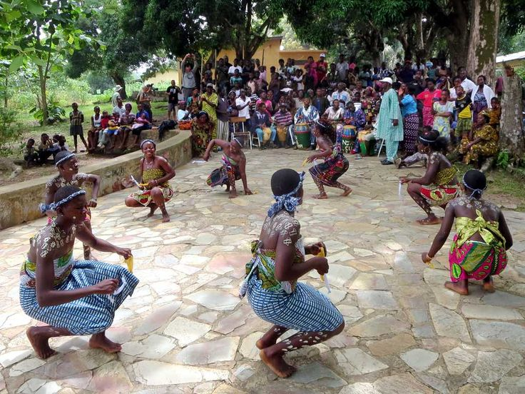 Traditional Ewa dancers perform the bobobo dance at the Hotel Campement de Kloto in the Forêt de Missahohe at Kouma-Konda village near Kpalime, Togo.