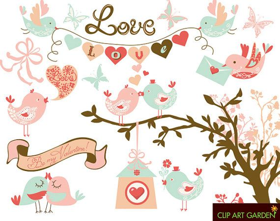 INSTANT DOWNLOAD Birdy digital Clipart Set (2) for Valentine's Day, wedding (paper crafts, card making, scrapbooking).