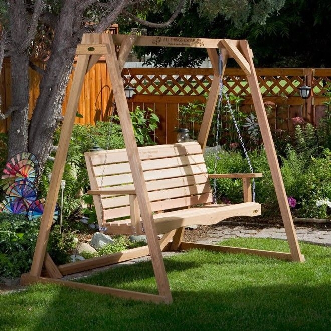 All things cedar duncan red cedar porch swing stand set for Easy porch swing