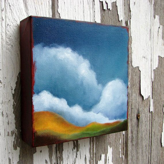 Original oil painting rolling hills landscape thunderstorm clouds rustic earthy colors - Stormscape series fortyfive