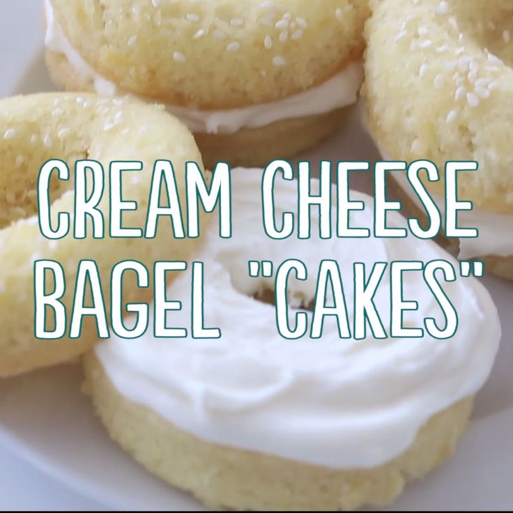 Vanilla cakes that look like delicious sesame cream cheese bagels.