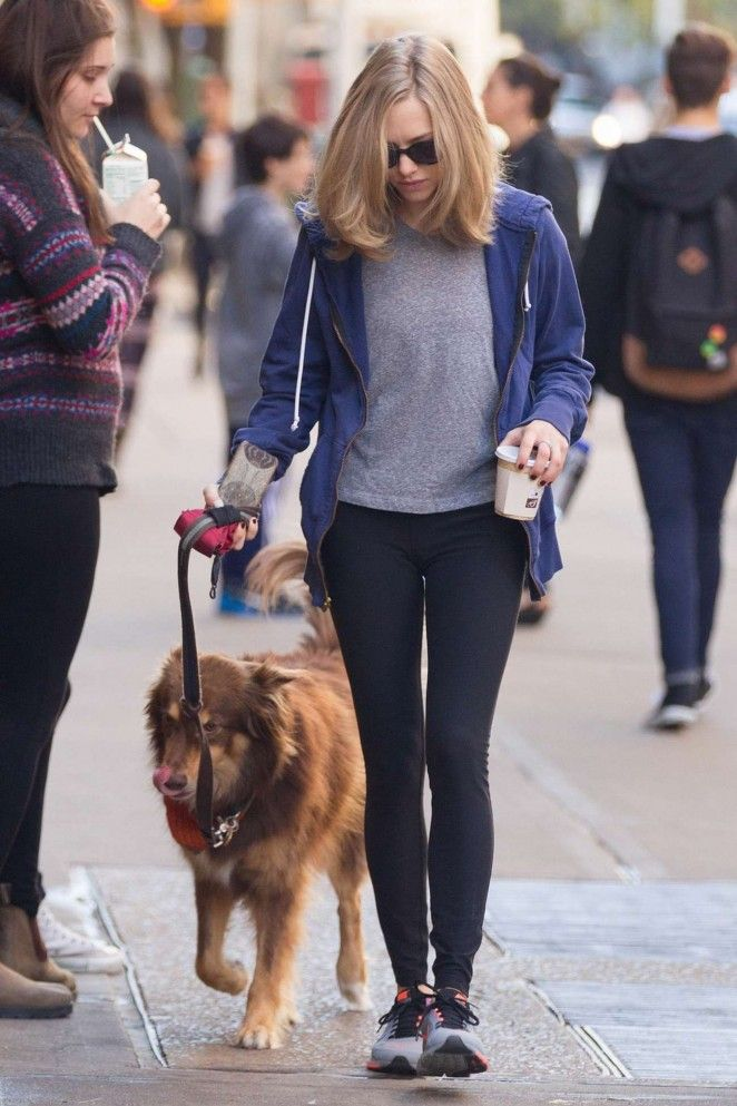 Amanda Seyfried - Walks her Dog Finn Out in NYC