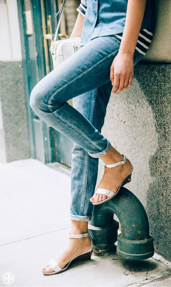 Just a sliver: Tory Burch Savannah Metallic Wedge Sandal