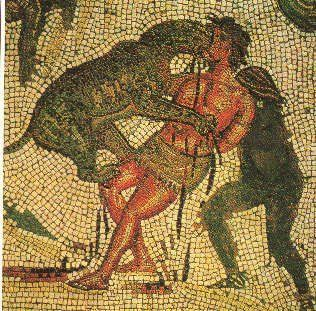 A Roman mosaic of a Christian being killed by a lion while a gladiator holds him up from behind. Nice. Yea, lets go back to paganism!