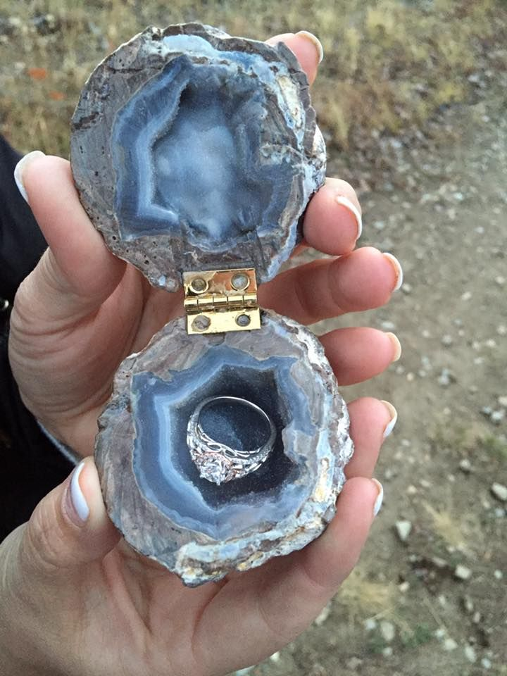 Engagement ring in a geode box. Love it!