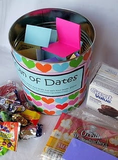 "for wedding gifts - 36 date ideas in a can & a gift card or some ""extras"" to accompany them"