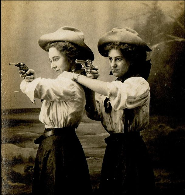two cowgirls, found post card circa 1910, on unexpectedtales' flickr streamHistorical Photos, Real Women, Strong Women, Guns Control, Bangs Bangs, Big Guns, Guns Right, Vintage Cowgirls, Wild West
