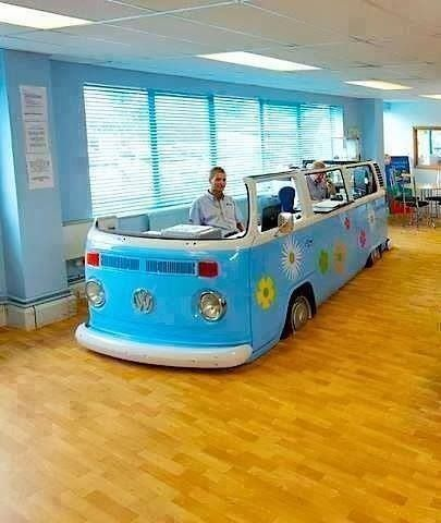 Upcycled Volkswagen bus turned into a home office! Don't have a link though. :-(