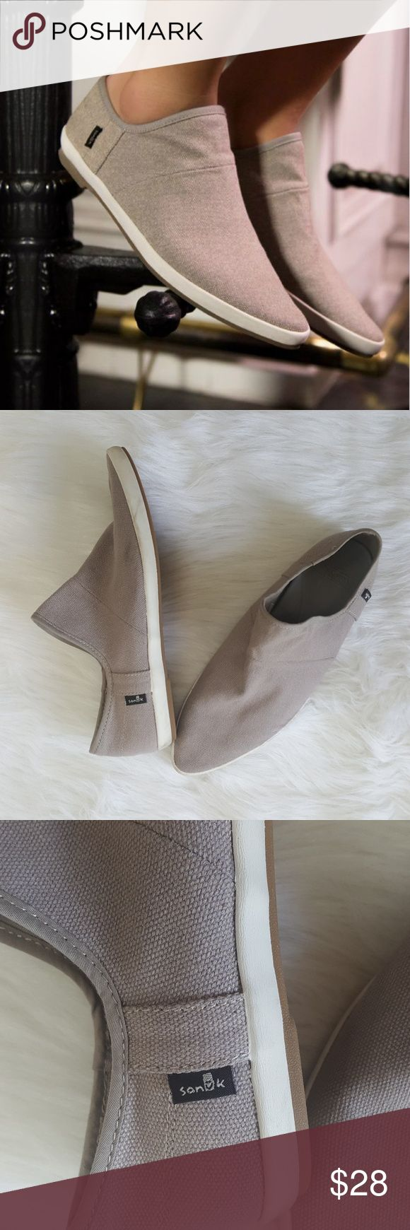 Sanuk Slip on Loafers Sanuk Slip on Loafers. Excellent used condition, worn just a few times. Minimal smudges on the white sides. Pointed toe, relatively narrow. Light grey. Sanuk Shoes Flats & Loafers