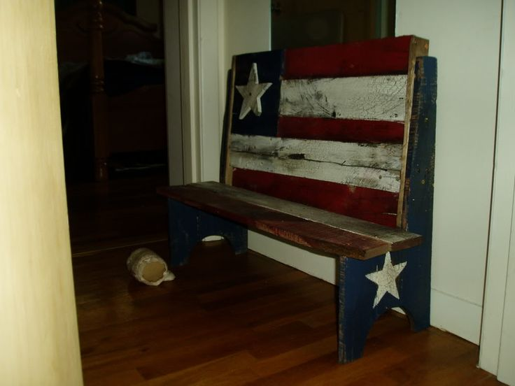 Americana bench - Pallet Project, similar to what we did just more stars and shelves on bottom