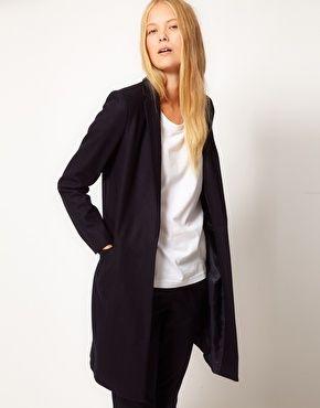 ASOS WHITE Leather Trim Coat