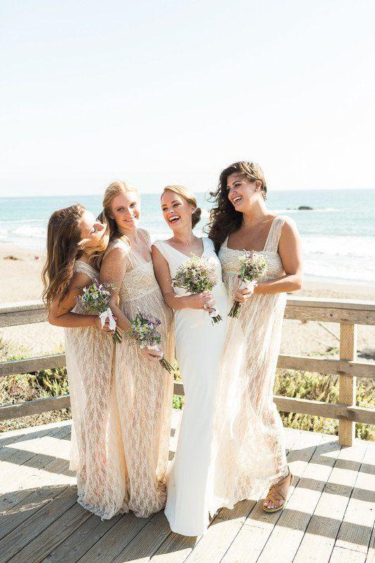 9e25bdc170 Beach wedding bridesmaid dress idea - cream, lace bridesmaid dress {Brooke  Borough Photography}