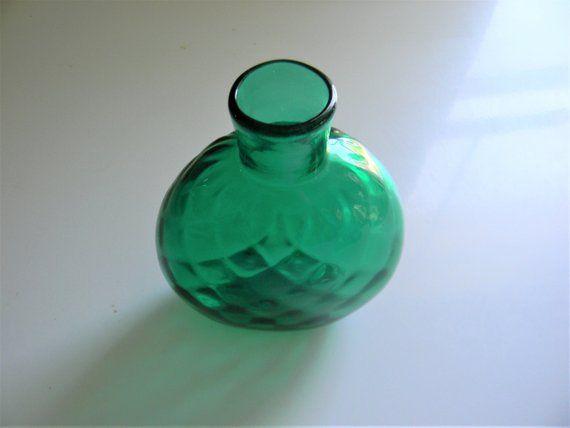 Hand Blown Vintage Green Glass Bottle - Deep Green Small Glass Bottle