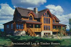 Multi Million Dollar Luxury Estate Homes   Rear exterior view of Custom Milled Log Home   by PrecisionCraft Log ...