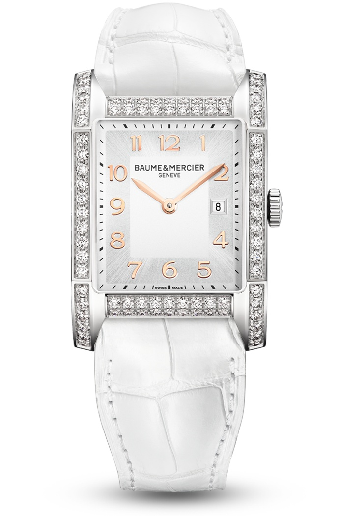 Discover the Hampton 10025 Ladies white watch, with diamonds and a rectangular shape, designed by Baume et Mercier, Swiss Watch Maker.