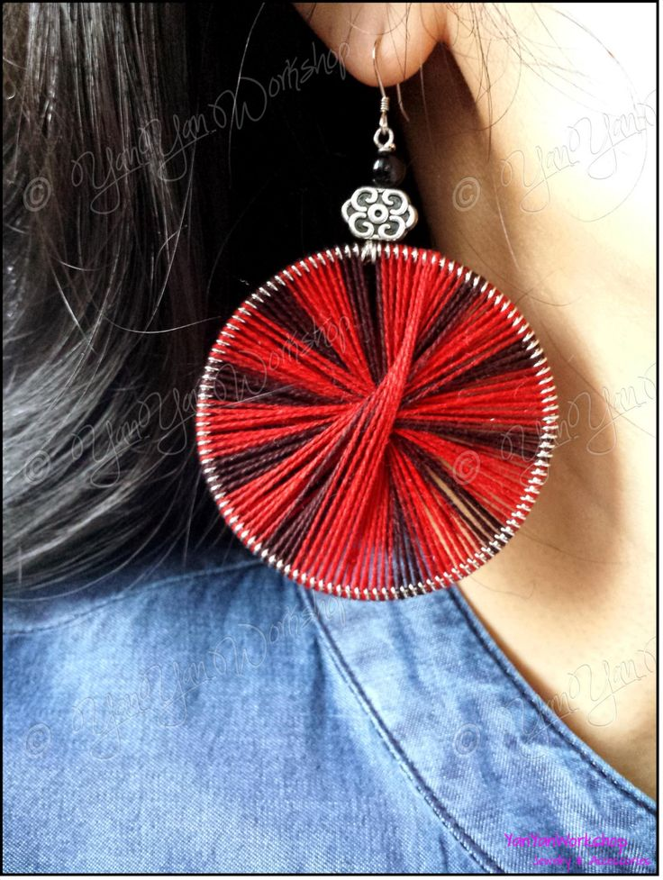 """Large Round Red & Black Woven Thread Earrings, Auspicious Cloud Charm, Sterling Silver Hooks by YanYanWorkshop on Etsy  Accented on top of the woven thread ring is an alloy charm with the traditional Chinese design of auspicious cloud, which stands for """"symbiosis and harmoniousness""""."""