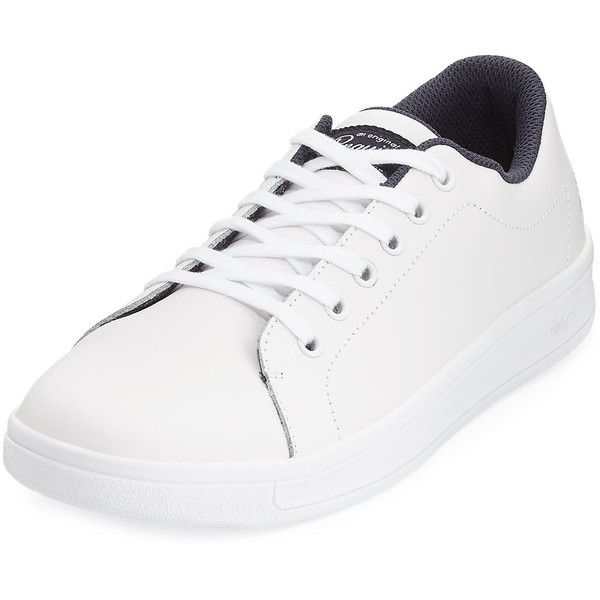 Original Penguin Barker Leather Lace-Up Sneaker ($55) ❤ liked on Polyvore featuring men's fashion, men's shoes, men's sneakers, white, mens leather lace up shoes, mens leather sneakers, mens platform shoes, mens lace up shoes and mens white leather sneakers