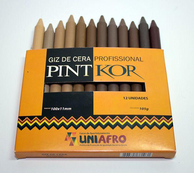 Giz de cera étnico koralle pintkor cor de pele produto Giz de cera - 12 unidades representando 12 diferentes cores de pele.