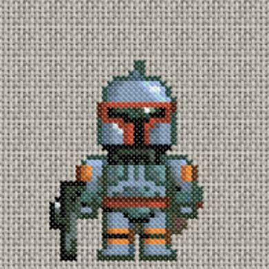 Boba Fett star wars cross stitch. free pattern.