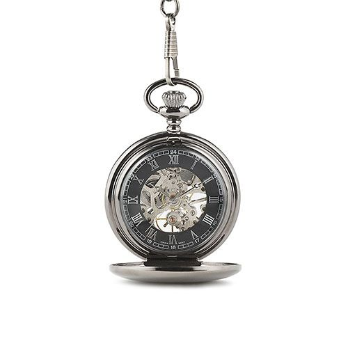 Gunmetal Mechanical Pocket Watch With Gift Box - The Knot Shop