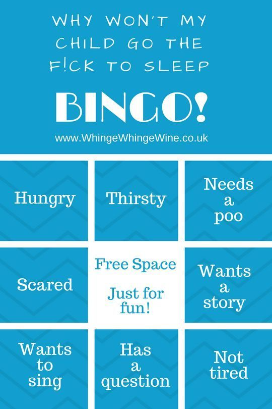 Why won't my child go to sleep bingo? Excuses and reasons that my kid won't go to bed. Play along, parents! #momlife #moms #mumlife #parenting #memes #parentingmemes #momhumor #momsknow #parentingbelike #bingo #sleep #preschoolers