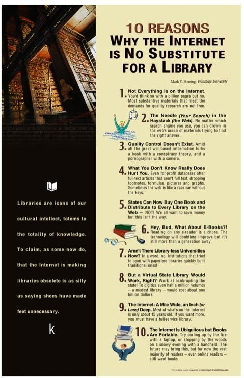 """""""10 Reasons Why the Internet is No Substitute for a Library."""" (vía bookworm-goddess)"""