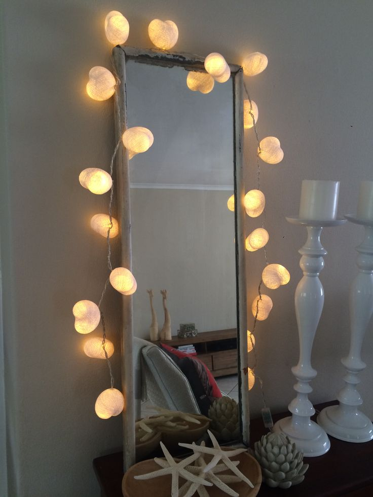 White hearts cotton ball string lights @cottoncable  Cotton Ball String Lights are very versatile and look great around mirrors, on tables, in vases, redundant fireplaces or in a child's bedroom as a gentle nightlight. Plus they look as good unlit as they do lit. Using our pick and mix option they're great as a personalised gift, or even as a treat for yourself for a new room that needs jazzing up!