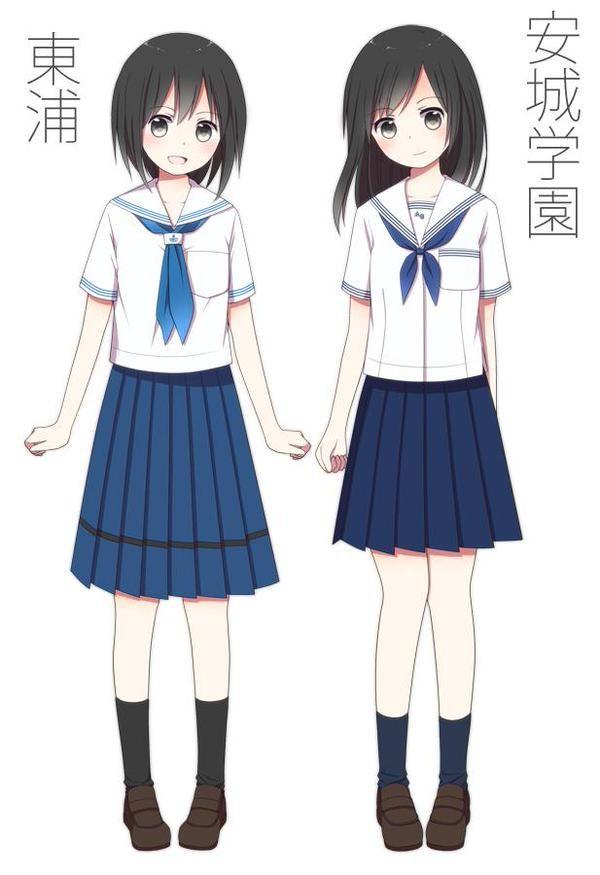 """さといも屋@名ティアC-5さんはTwitterを使っています: """"#愛知県JK制服目録 西三河編その2。明るい青色の生地とスカートの黒ラインが独特な東浦高校と、冬服がブレザー・夏服がセーラーという近辺では珍しいスタイルの安城学園高校。せっかくなので冬・夏両方描きました。 http://t.co/kw83yYazJm"""""""