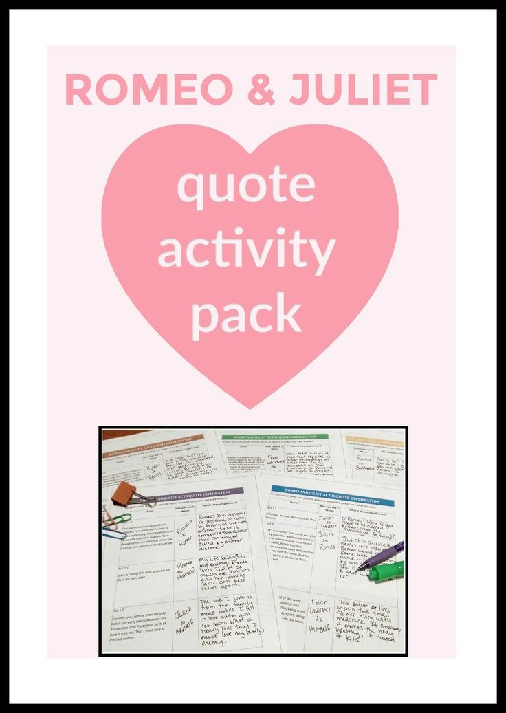 Romeo and Juliet Quotes! Enjoy this activity pack that incorporates seamlessly into your lessons. Perfect for the high school English Language Arts classroom or Shakespeare enthusiast.