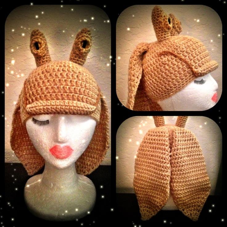 Star Wars Episode 1 Jar Jar Binks styled crocheted hat.